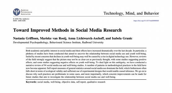 New paper out! Here's how we can improve social media and wellbeing research!