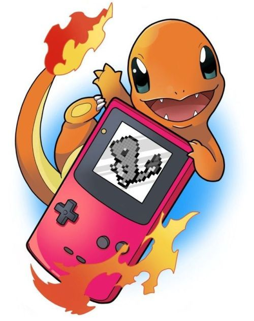 Charmander playing Gameboy by Bex Lowe